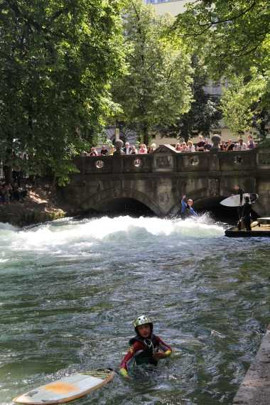 Watching the surfers on the man-made Isar river in the Englischer Garten