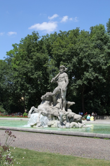 Fountain of the water-god, Neptune in Munich's Botanical Garden