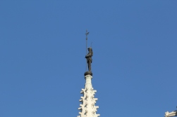 Huge iron soldier on top of the Parliament building